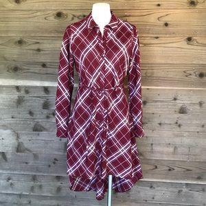 Love Notes Plaid Hi Low Roll Sleeve Shirt Dress Lg